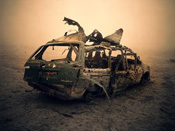 richard mosse, nomads, disaster, car, wreckage, wreck, vehicle, vehicles, desert, iraq